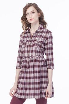 Женское платье рубашка в клетку VIAGGIO