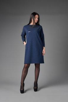 Синее платье трапеция Трикотажница