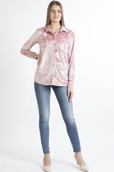 Розовая бархатная рубашка Bast