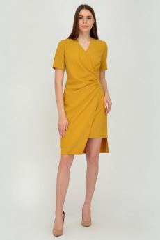 Горчичное платье с асимметричным кроем Viserdi